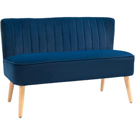 HOMCOM Velvet-Look Two-Seater Sofa w/ Wood Frame Padding High Back Stylish Blue