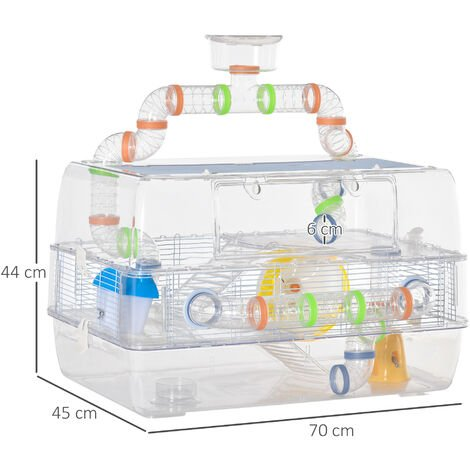 PawHut Transparent Hamster Cage w/ Longline Tunnel Tube Water Bottle Food Dish