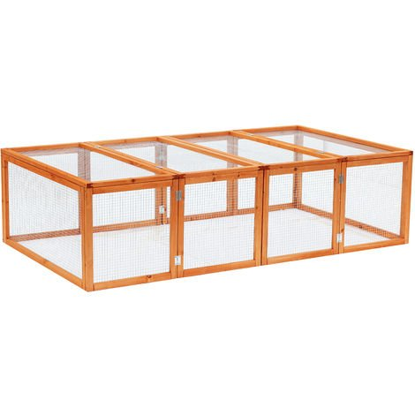 PawHut 6ft Outdoor Wooden Rabbit Hutch Cage with Wire Mesh Safety Run