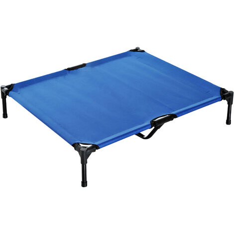 PawHut Elevated Pet Bed Portable Camping Raised Dog Metal Frame Blue - Large