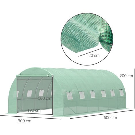 Outsunny Greenhouse Polytunnel Outdoor Walk-in Shed Growing Plant Steel - 6 x 3m