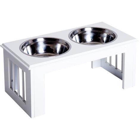 PawHut Stainless Steel Pet Food Feeder Raised Elevated Twin Bowls Medium - White