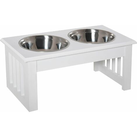 PawHut Elevated Pet Feeder Raised Stainless Steel Bowls Stand Small - White