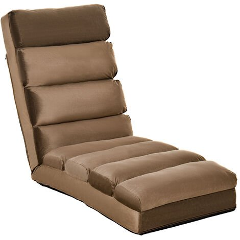 Homcom Lounge Sofa Bed Folding Adjustable Floor Lounger Sleeper Futon Mattress Seat Chair w/ Pillow (Brown)