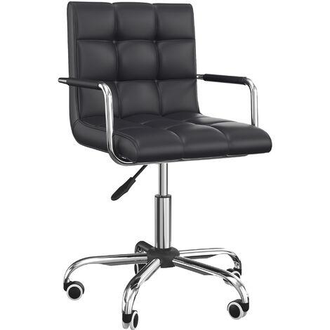 HOMCOM PU Leather Height Adjustable Office Computer Chair Bar Kitchen Stool - Black