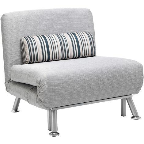 HOMCOM Foldable Futon Sofa Bed Grey