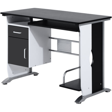 HOMCOM Computer Desk with Sliding Keyboard Tray Storage Drawers and Host Box Shelf Home Office Workstation (Black)