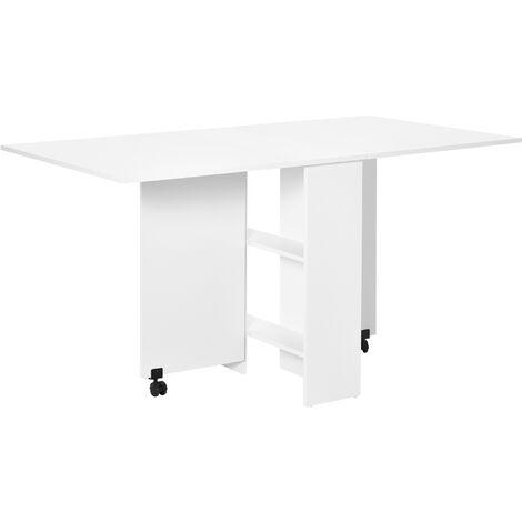 HOMCOM Mobile Drop Leaf Dining Table Folding Desk w/ 2 wheels Storage Shleves White