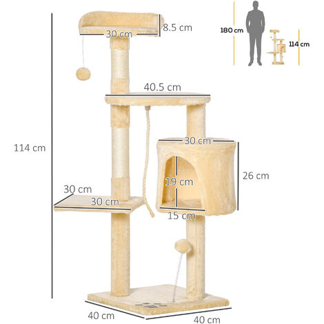 PawHut Cat Tree Pet Activity Centre Condo Climbing Scratching Post with Toys 4-tier 114cm Tall Beige