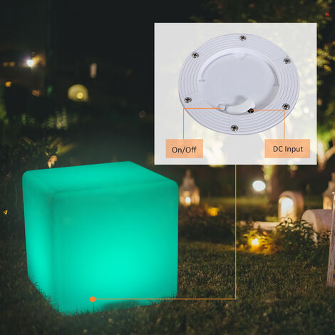 HOMCOM 40cm LED Cube Stool Chair Seat Table Light Floor Lamp Adjustable 16 RGB Colour Rechargeable Battery