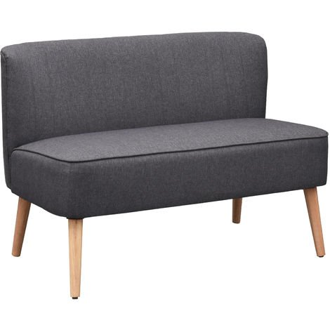 HOMCOM 2 Seater Modern Double Seat Sofa Bed Loveseat Couch Compact Sofa Padded Linen Wood Leg - Dark Grey