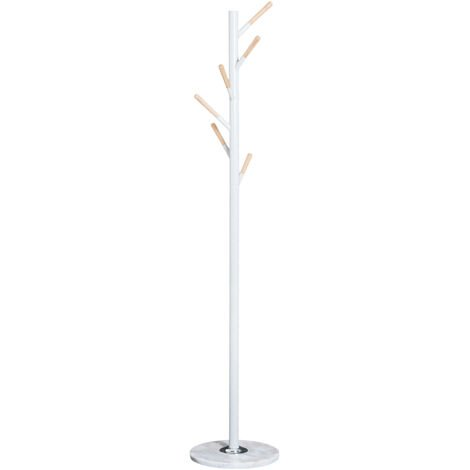 HOMCOM 174cm Free Standing Metal Coat Rack Stand with Marble Base 6 Hooks - White