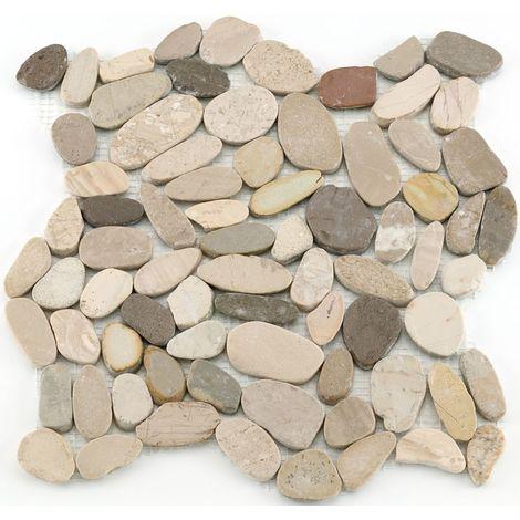 Mosaïque antidérapante pierre naturelle Pebble - 30x30x0.8cm - Nature