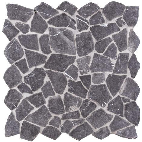 Mosaïque pierre naturelle Crush - 30x30x0.8cm - Nero Marquina