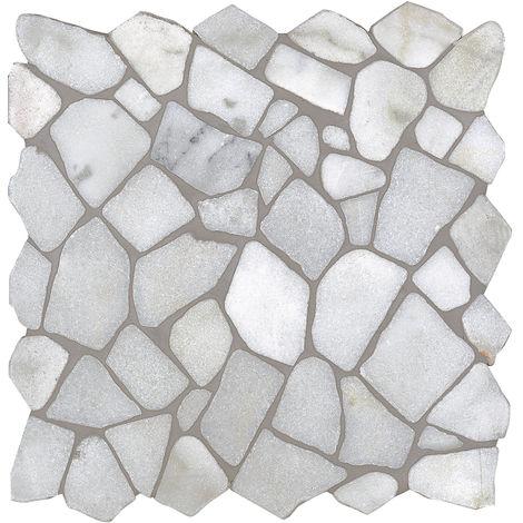 Mosaïque pierre naturelle Crush - 30x30x0.8cm - Bianco Carrara