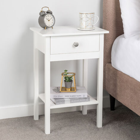 White Bedside Table With Shelf & Drawer