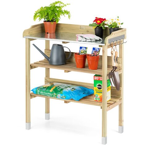 Wooden Garden Potting Table With Storage