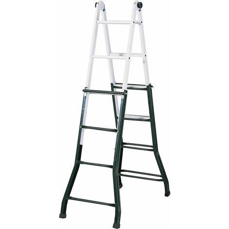 Escalera de Acero Profesional Articulada Catter House Multiusos 4x4 Altura Máxima de Trabajo 470 cm