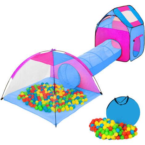 Tienda infantil con túnel, 200 bolas y bolsa - parque infantil con bolas de colores, tienda de juegos plegable con techo desmontable, casita infantil de juegos con túnel