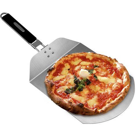 Pala Pizza Paletta Tagliere Pizze Acciaio Inox con Manico Pieghevole 25x24cm