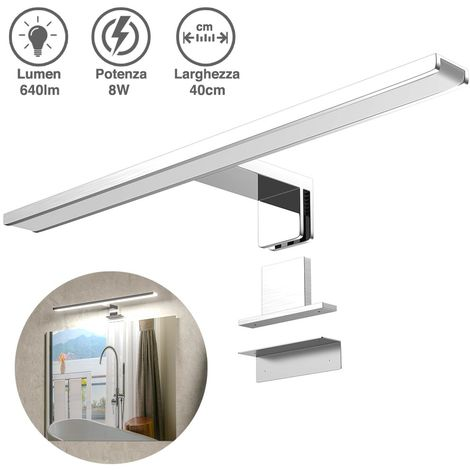 Lampada Specchio Bagno Applique Parete 40cm Luce LED 8W 6500K 640lm in Alluminio