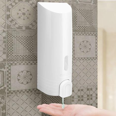Dispenser Erogatore Sapone Liquido Parete Muro Bagno ABS Botiglia 380ml Bianco