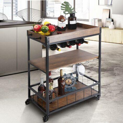 Carrello Cucina 3 Ripiani Vassoio Estraibile Portabottiglie Design Industriale