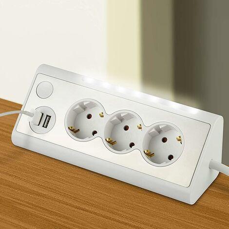 Multipresa Scarpetta Elettrica Angolo 3 Posti Prese + 2 USB + Luce LED Notturna