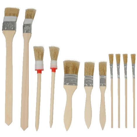 Pennelli Pittura Varie Misure Manico In Legno Set 11 Pezzi Per Bricolage Kinzo