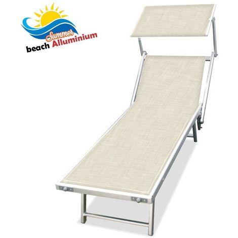 Lettino Prendisole Alluminio Pieghevole LIDO Spiaggia Giardino ECRU 180x60x40 cm