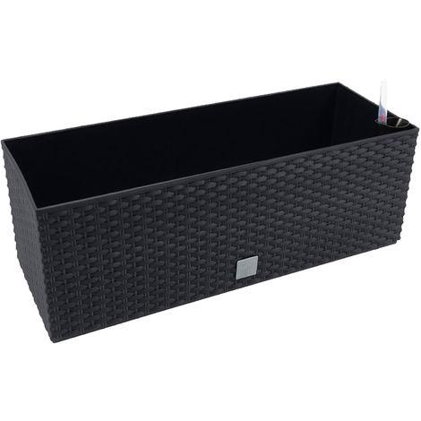 Jardinera rectangular 17 litros con autorriego color negro 52 x 20 x 19cm