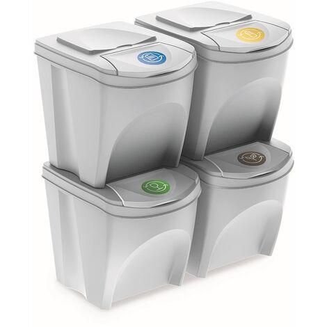 Juego de 4 cubos de reciclaje 100L Prosperplast Sortibox de plastico en color blanco