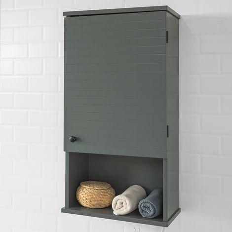 Meuble Haut Armoire Suspendue de Toilettes Placard Mural avec Porte pour Salle de Bain Armoire à Pharmacie avec étagères,SoBuy® BZR25-DG