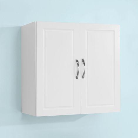 Salle de Bain Suspendue Placard Commode Murale – 2 Portes - Blanc FRG231-W SoBuy®