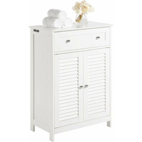 Meuble Bas de Salle de Bain Armoire Toilette Buffet Commode – Blanc FRG238-W SoBuy®