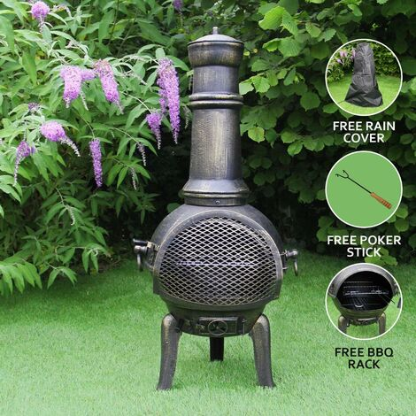 Chiminea Outdoor Patio Heater Garden Log Fire Pit Burner Wood Cast Iron Chimney Chimenea BBQ Frost Proof Spark Guard Rain Cover Poker Barbeque Toasting Rack