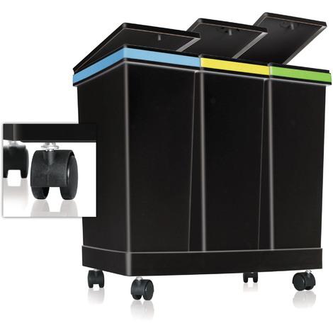 Contenitori pattumiera per raccolta differenziata (Tre contenitori) 63 Lt Colore Nero - Smarty ECOBIN
