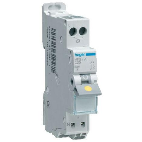 Disjoncteur 1P+N 3kA - C-20A - Connexion SanVis - 1 Module - Hager