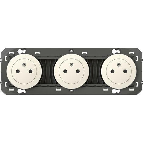Triple prise de courant 2P+T Surface dooxie 16A précâblées finition blanc (600333)