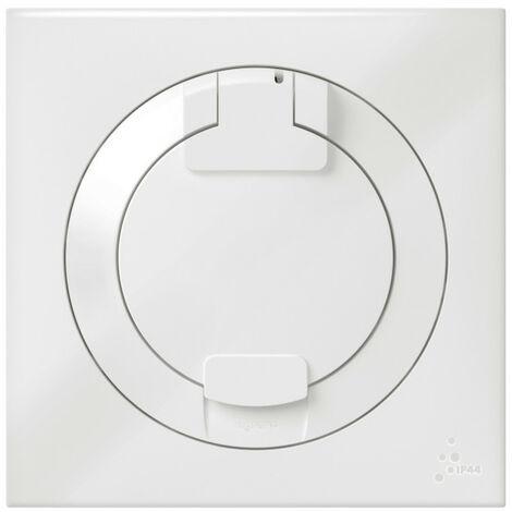 Prise de courant 2P+T à puits dooxie 16A IP44 livrée avec plaque carrée blanche (600344)