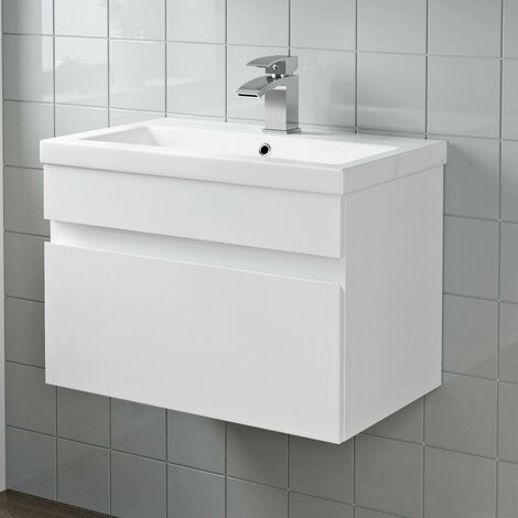 600mm Bathroom Basin Sink Vanity Unit Wall Hung Cabinet Gloss White