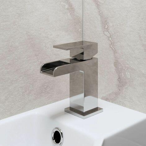Modern Cloakroom Mono Basin Sink Mixer Tap Brass Waterfall Spout Square Chrome