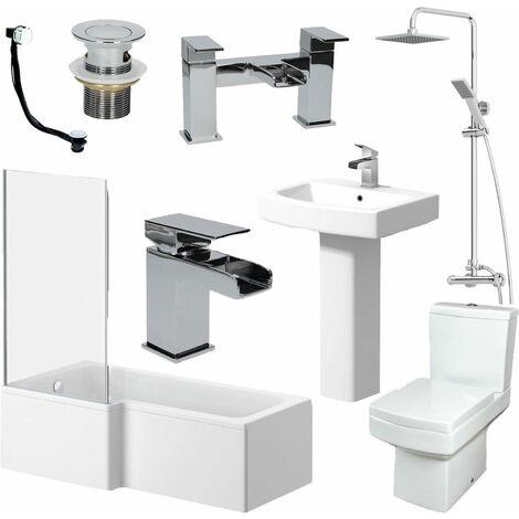 Complete Bathroom Suite 1500 L Shape Bath LH Screen Basin Toilet Taps Shower