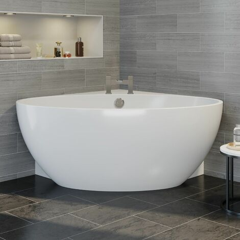 Modern Designer Corner Freestanding Bath Acrylic Bathtub 1510mm Built-In Waste
