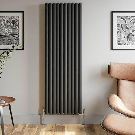 1800x600mm Anthracite Designer Radiator Vertical Oval Column Double Panel Rad