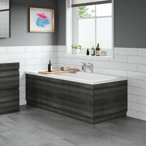 Modern Bathroom 1700 Front & 700 End Bath Panel Pack MDF Charcoal Grey Plinth