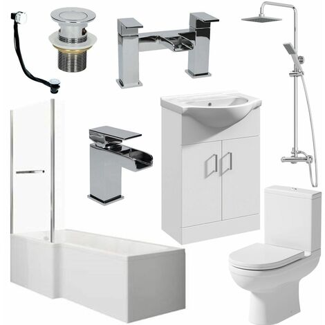 Bathroom Suite L Shaped 1700mm LH Bath Toilet Vanity Basin Shower Screen Rail