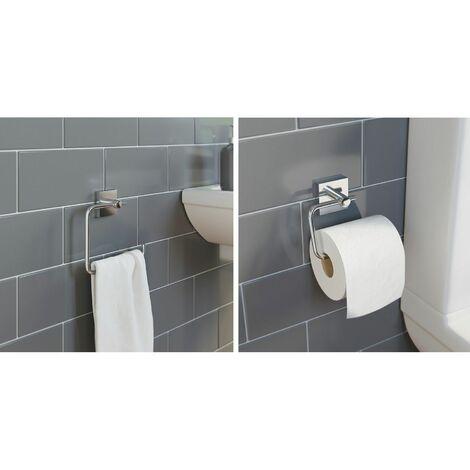 Bathroom Set Towel Ring Toilet Roll Holder Chrome Wall Mounted Stylish Modern