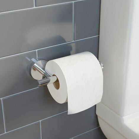 Bathroom Toilet Roll Holder Chrome Round Wall Mounted Stylish Modern
