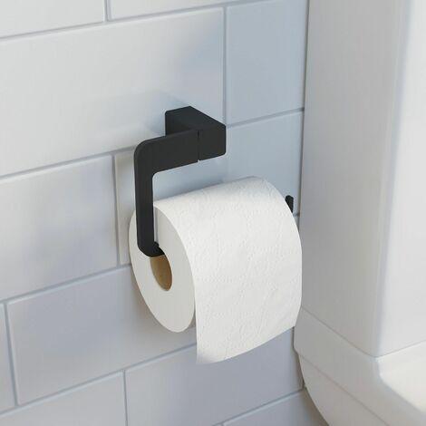 Bathroom WC Toilet Roll Holder Black Square Wall Mounted Stylish Modern
